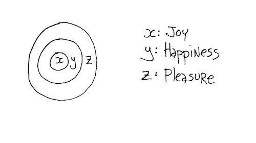 Joy happiness pleasure